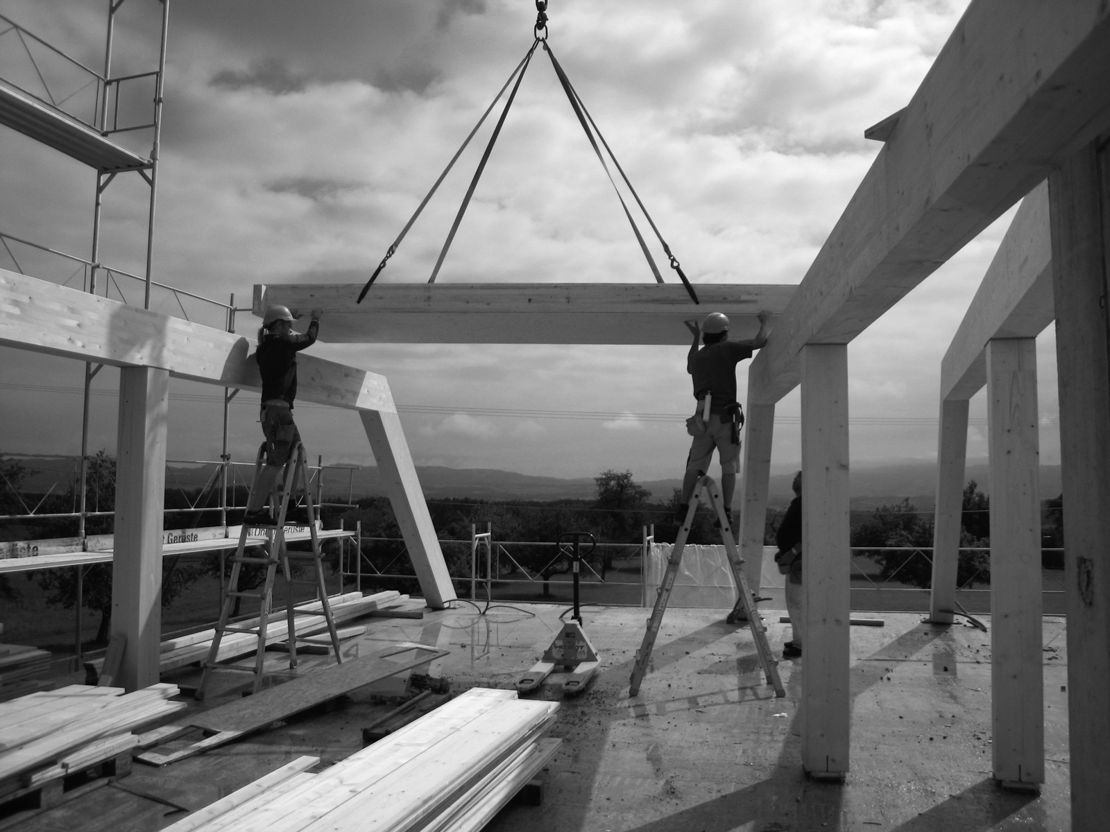 wiggwil farm, roof space during construction