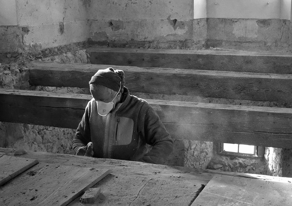Restauration der Holzbalken
