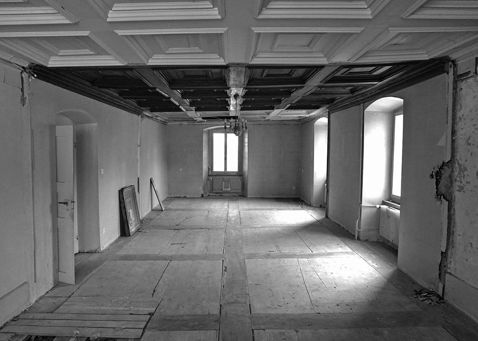 Gartensaal nach der Aufhebung der Wände
